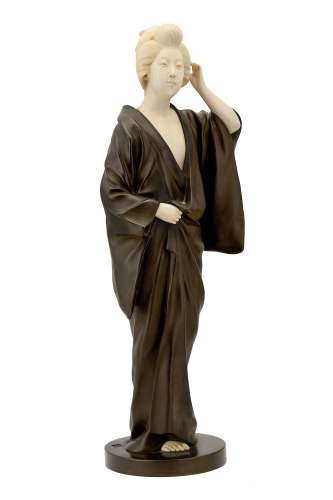 A LARGE JAPANESE BRONZE AND IVORY FIGURE OF A BEAUTY.