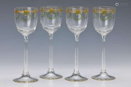 6 glasses, German, around 1910, colorless glass, with