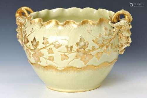 Large Cachepot, Sarreguemines, around 1910, earthenware