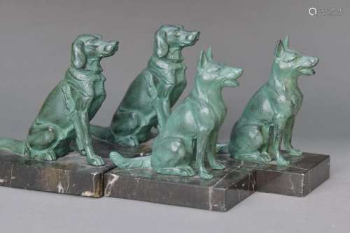 2 pair of bookends, France, around 1930, species