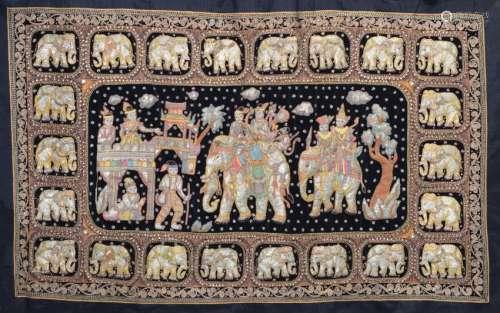 BURMESE KALAGA ELEPHANT LARGE EMBROIDERED TAPESTRY