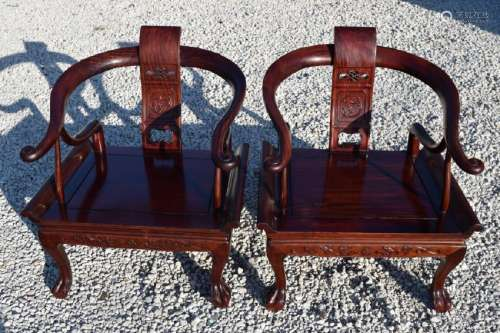 2 CHINESE CARVED ROSEWOOD HORSESHOE BACK CHAIRS