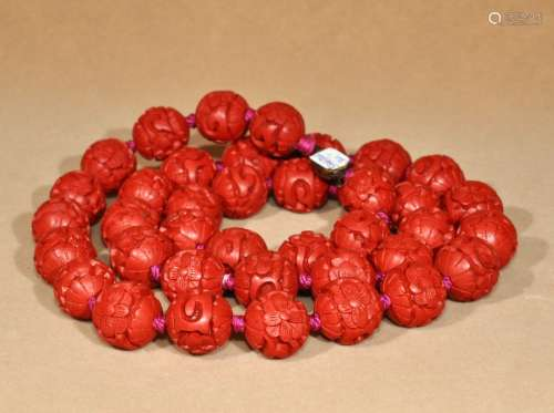 创汇时期精美老剔红大珠链一条
