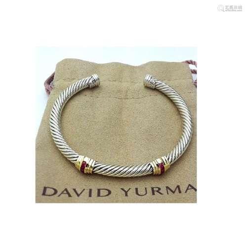 David Yurman Sterling Silver &14K Gold Double Stations