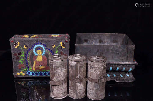 SET OF SILVER BUDDHIST SCRIPTURES