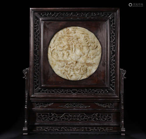 A RED WOOD CARVED HETIAN JADE DECORATED SCREEN