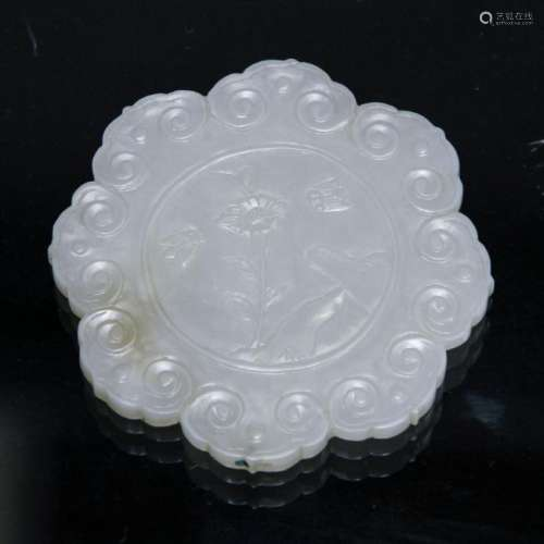 A WHITE JADE PLAQUE, MING DYNASTY