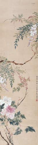 恽寿平 花卉 挂轴 设色纸本