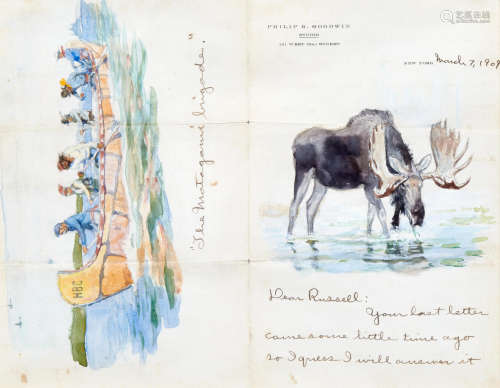 Letter to Charles Marion Russell: A Pair of Double Sided Works each, 8 1/2 x 10 3/4in Philip Russell Goodwin(1882-1935)