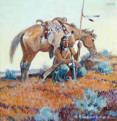 Navajo Scout: A Double Sided Work 9 x 9in Nick Eggenhofer(1897-1985)
