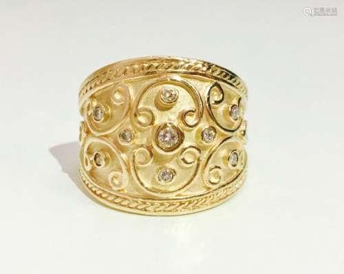 Vintage 14K Yellow Gold and RBC Diamond Ring