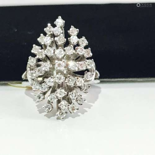 14k Gold & White Diamond Cocktail Ring
