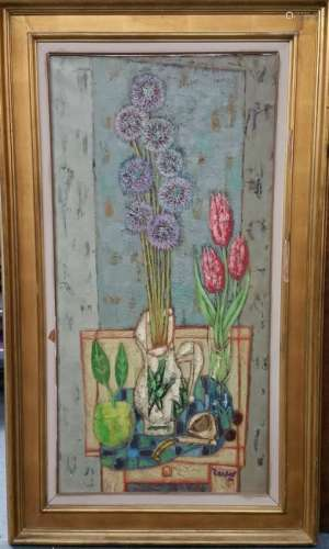 Zendel French Post Cubist Floral Still Life Painting