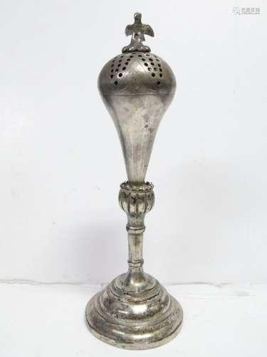 Antique Coin Silver Tall Censor Bird Finial