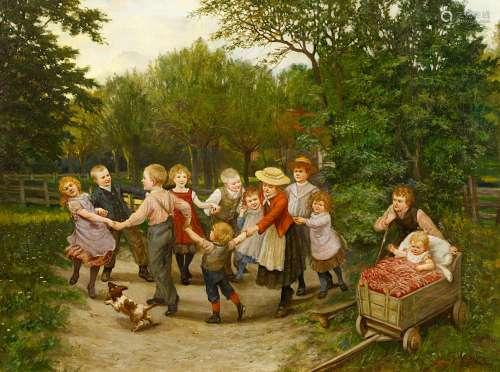 Plinke, August H.1855 FallerslebenSpielende Kinder. Öl auf Leinwand. 75,5 x 101cm. Signiert unten