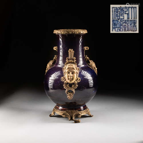1890-1940 Antique Export Flambé Glazed Vase