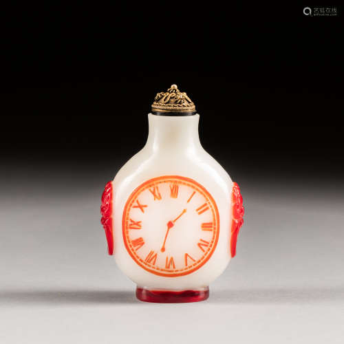 19th Antique Red Overlay Glass Snuff Bottle