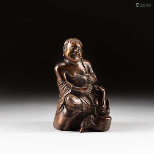 19th Antique Huanghuali Wood Figure Liu Hai