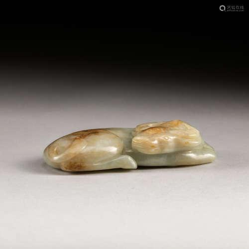 19th Antique Pale Celadon Jade Figure