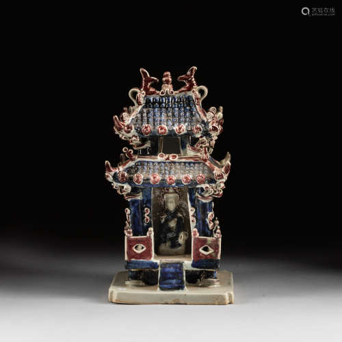 Yuan Style Blue White And Red Glazed Buddha
