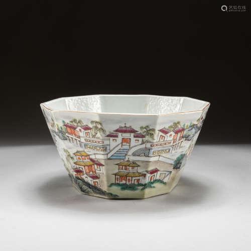 19th Antique Export Famille Rose Bowl