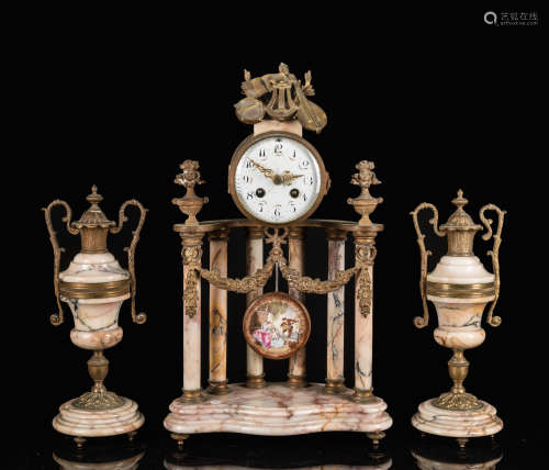 19th Antique French Clock & Garniture