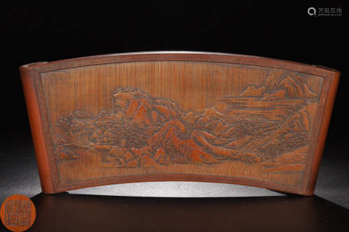 A BAMBOO CARVED LANDSCAPE PATTERN INK-BED