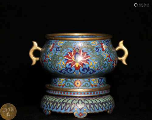A CLOISONNE FLORAL PATTERN DOUBLE-EAR CENSER