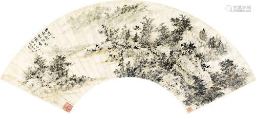 黃君璧 山水扇面 設色紙本 鏡片