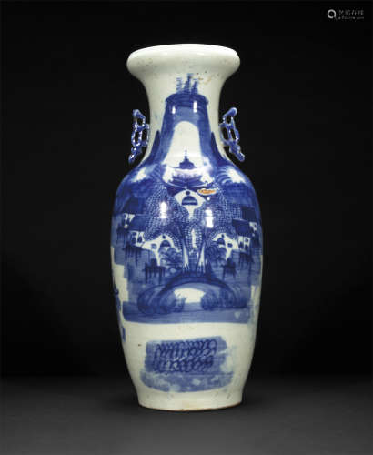 清 青花山水瓶