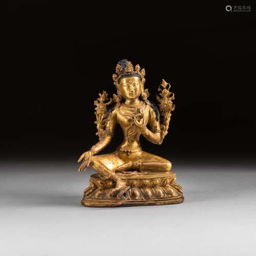 19th Antique Gilt Bronze Green Tara
