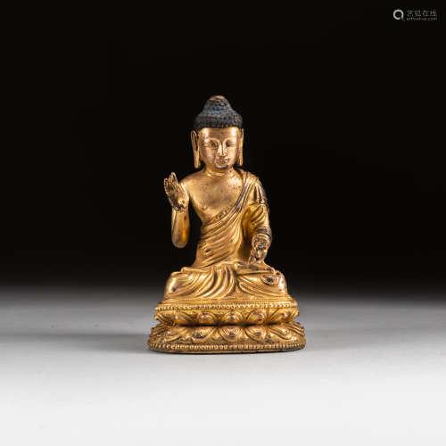 18-19th Sino Tibetan Antique Gilt Bronze Buddha