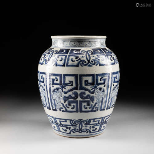 Large 19th Blue&White Jar