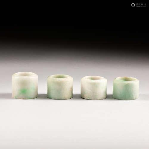 Set Of Four 18-19th Antique Jadeite Thumb Rings