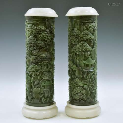 PAIR OF JADE INCENSE BURNERS WITH GREEN JADE LIDS AND