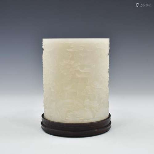 WHITE JADE CARVED BRUSH POT ON STAND