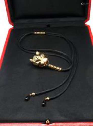 Cartier Panthere 18k Gold Emerald Lacquer Cord Necklace