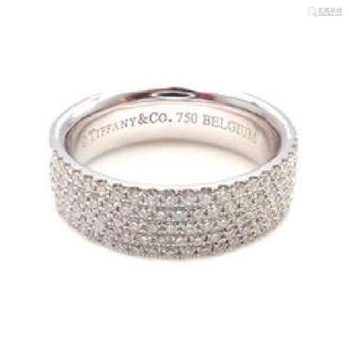 Tiffany & Co. 18k White Gold Diamond 5 Row Metro Ring