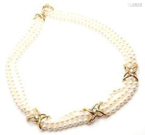 Tiffany & Co 18k Yellow Gold Diamond 3 Strand Pearl