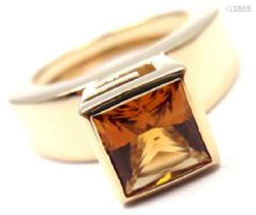 Gucci 18k Yellow Gold Citrine Ring Box