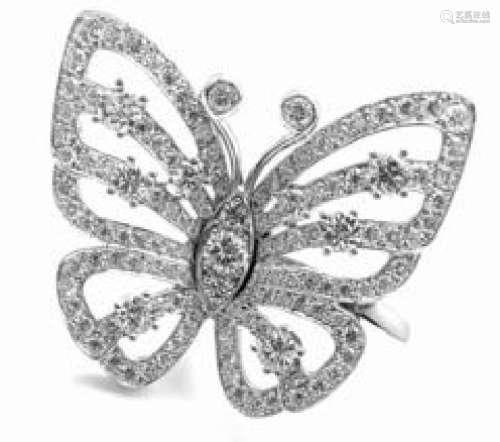 VAN CLEEF & ARPELS 18K DIAMOND FLYING BUTTERFLY RING