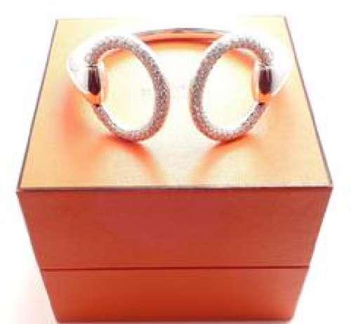 Hermes Nausicaa 18K White Gold Diamond Horsebit Cuff