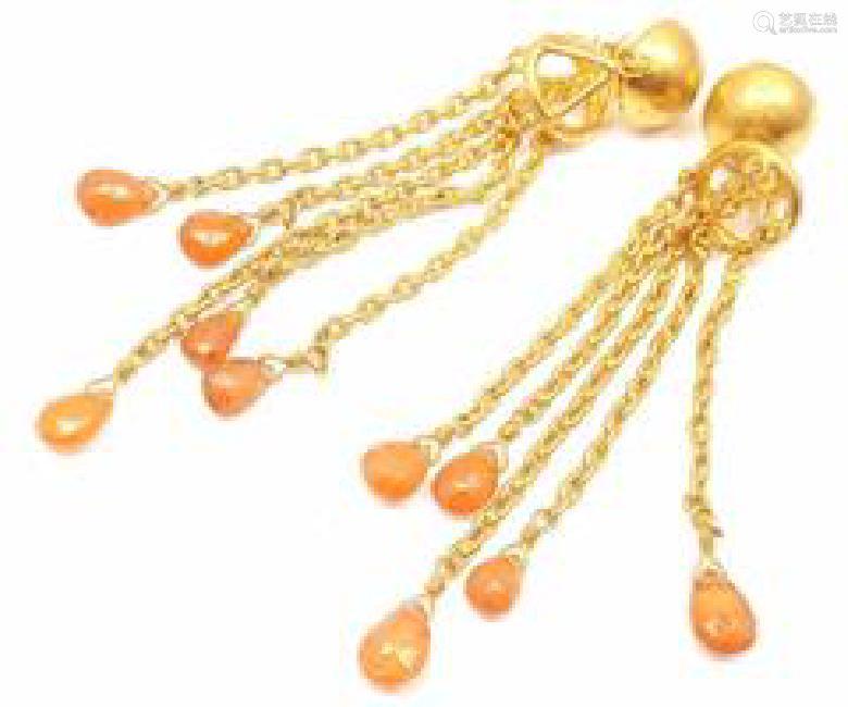 Yossi Harari 24k Yellow Gold Citrine Gemstone Drop