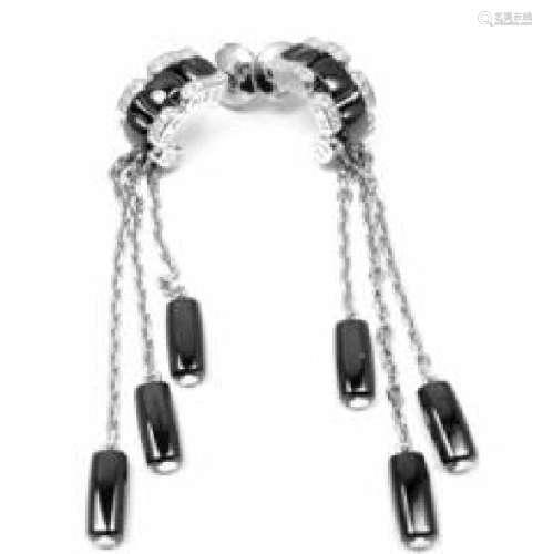 Chanel Ulta 18k White Gold Diamond Black Ceramic Drop