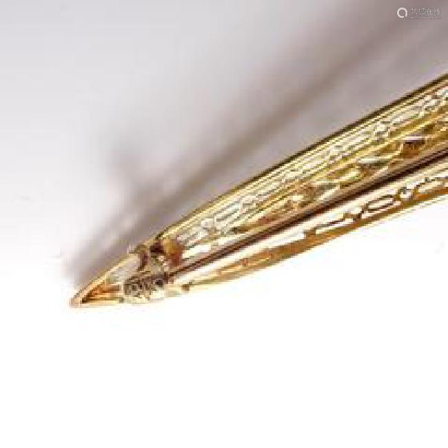 Estate 14k Yellow White Gold Tanzanite Art Deco Bar