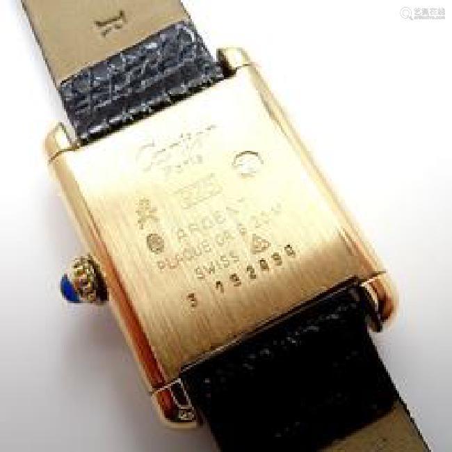 Must De Cartier Tank Vermeil Unisex Manual Wind Watch