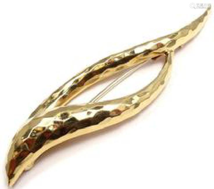 HENRY DUNAY 18K YELLOW GOLD ABSTRACT PIN BROOCH