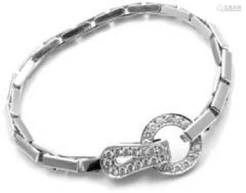 Cartier Agrafe 18k White Gold Diamond Bracelet