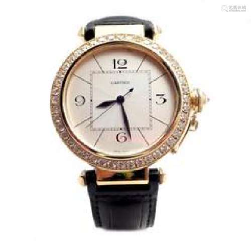 Cartier Pasha 18k Yellow Gold 3.27ctw Diamond Automatic