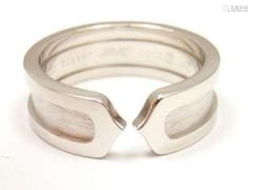 CLASSIC CARTIER 18K WHITE GOLD DOUBLE C WEDDING BAND